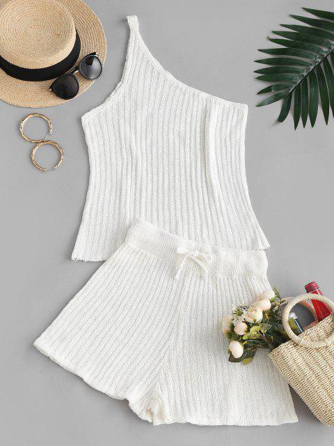 women Knitted One Shoulder Two Piece Set - WHITE L Mobile