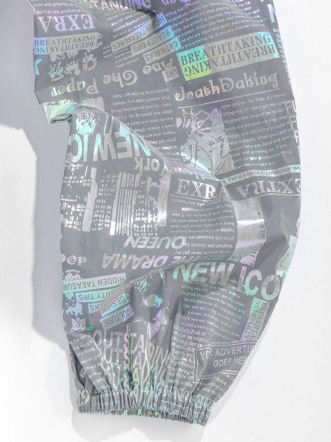 ZAFUL Reflektierende Freizeithose mit Zeitungsdruck - Grau L Mobile