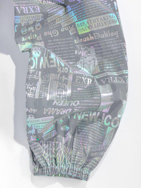 ZAFUL Reflektierende Freizeithose mit Zeitungsdruck - Grau XL Mobile