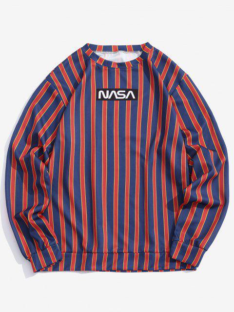 latest Letter Print Contrast Striped Sweatshirt - DEEP BLUE M Mobile