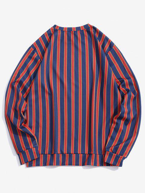 women Letter Print Contrast Striped Sweatshirt - DEEP BLUE L Mobile