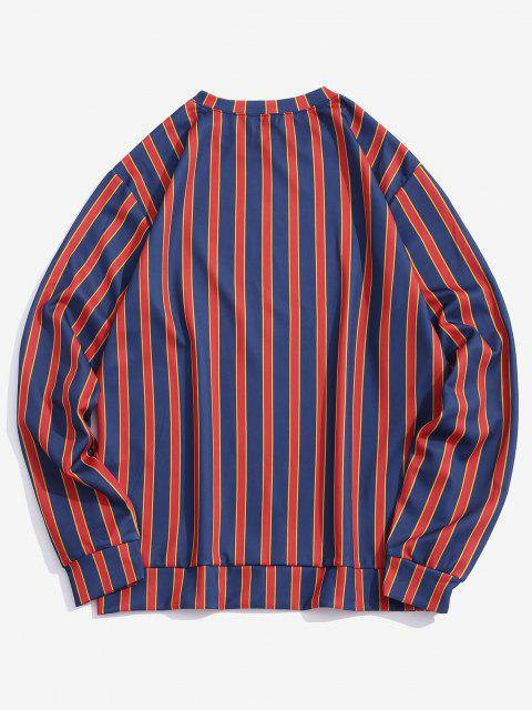 fancy Letter Print Contrast Striped Sweatshirt - DEEP BLUE 3XL Mobile