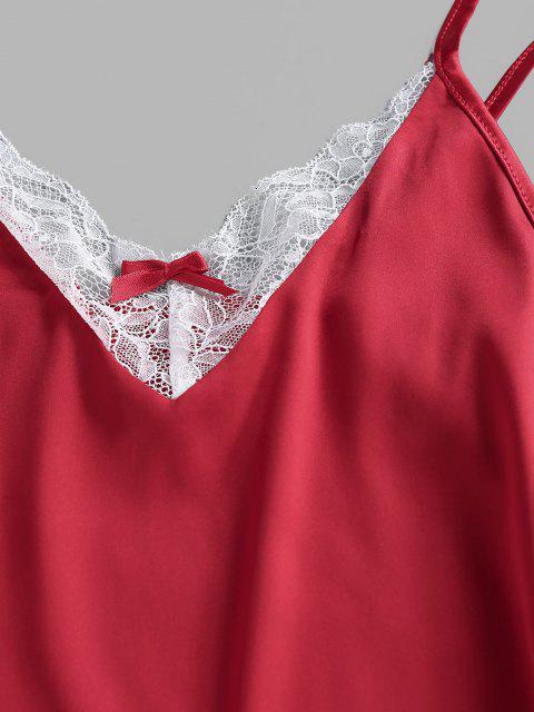 Vestido de Pijama de Seda com Fenda - Vermelho S Mobile