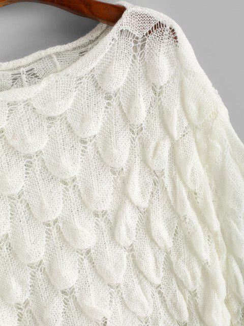 lady Openwork Fish Scale Mermaid Jumper Sweater - WHITE ONE SIZE Mobile