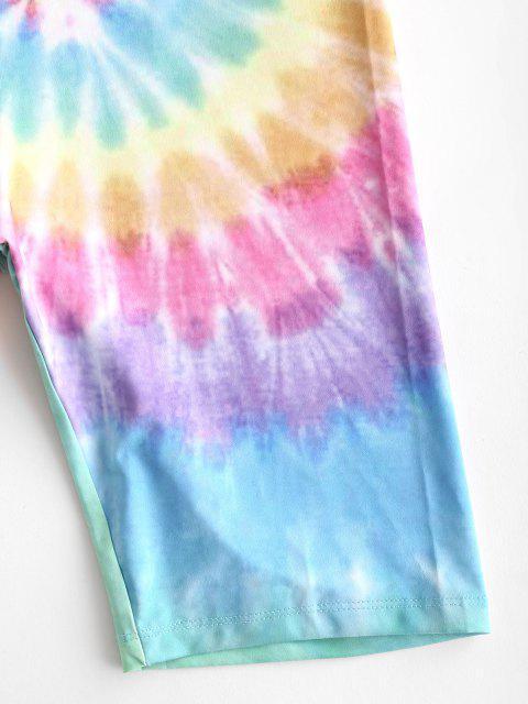 ladies High Waisted Colorful Tie Dye Biker Shorts - MULTI-B L Mobile