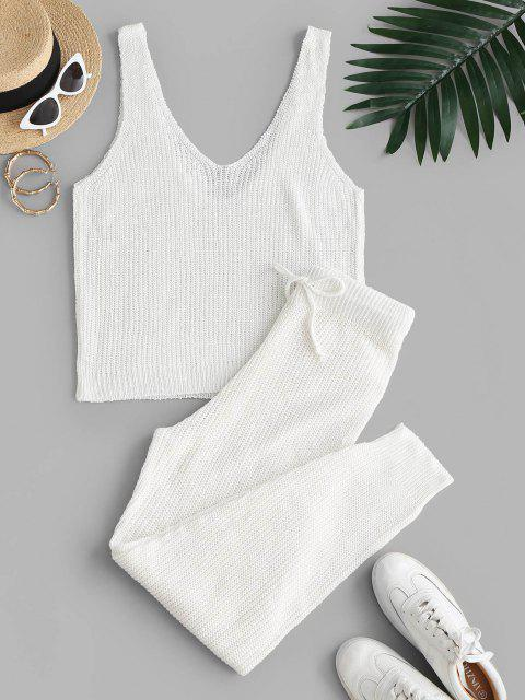online Knitted Solid V Neck Two Piece Set - WHITE S Mobile