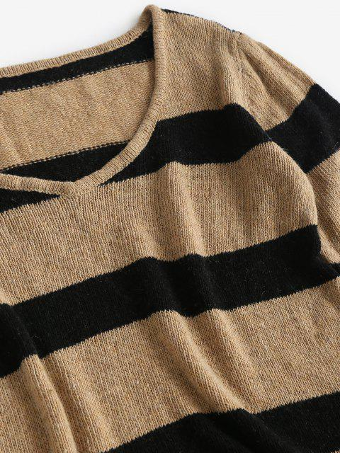 affordable Contrast Stripes V Neck Two Piece Set - COFFEE L Mobile