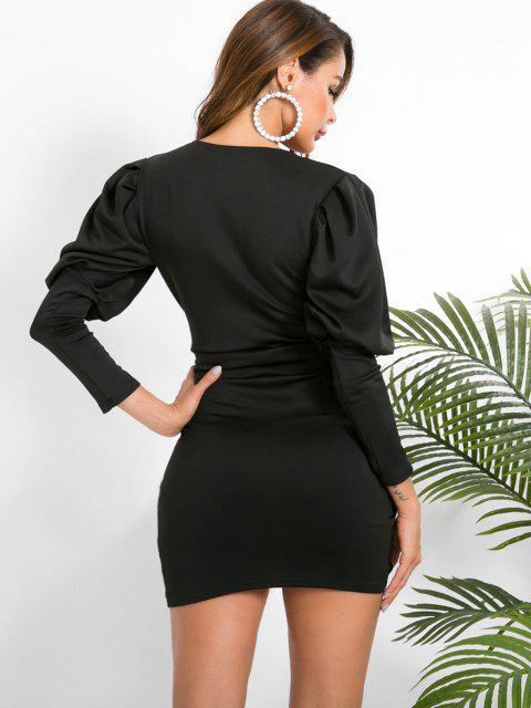 trendy Balloon Sleeve Tulip Hem Tie Bodycon Surplice Dress - BLACK M Mobile