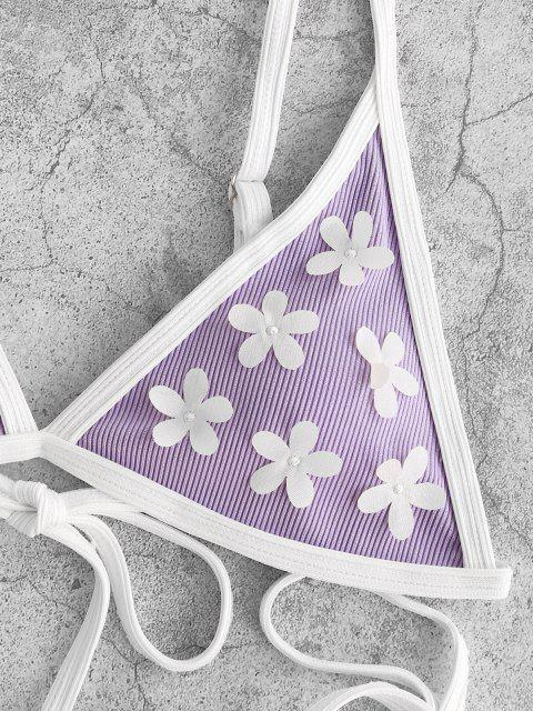 chic ZAFUL Ribbed Flower Applique String Ringer Bikini Swimwear - LIGHT PURPLE S Mobile