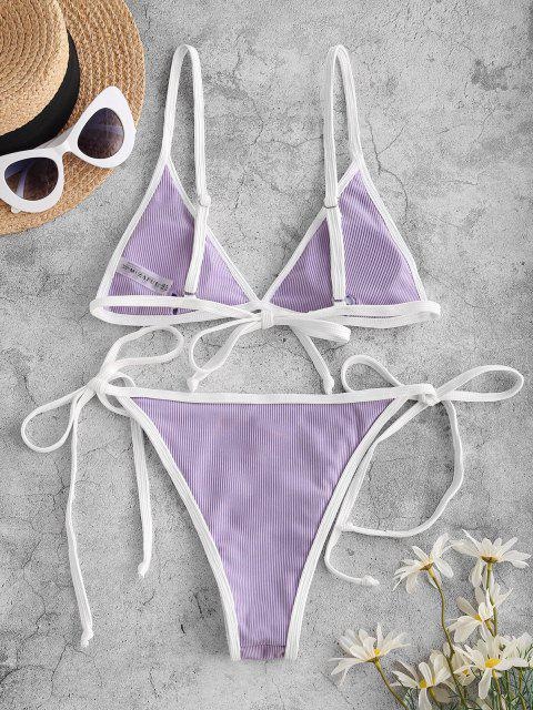 unique ZAFUL Ribbed Flower Applique String Ringer Bikini Swimwear - LIGHT PURPLE L Mobile