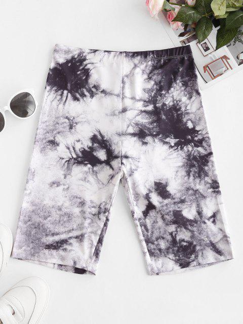 women High Waisted Tie Dye Biker Shorts - MULTI-C M Mobile
