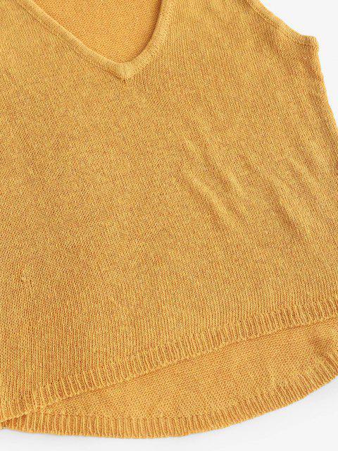 Strickwaren mit Hohem und Niedriger Taille und Mini Shorts Set - Gelb S Mobile