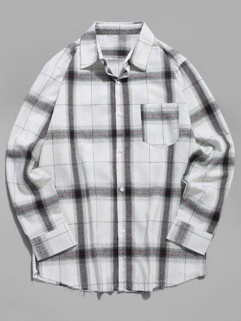 shop Plaid Print Long Sleeve Raw Hem Pocket Shirt - WHITE XS Mobile