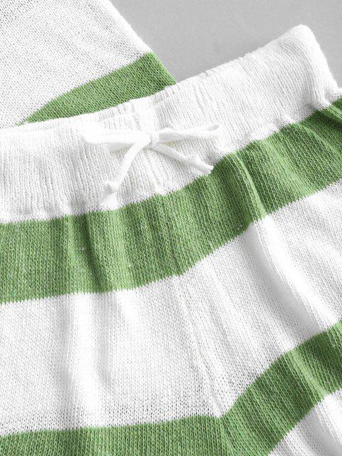 online Striped High Low Tank Top and Mini Shorts Knitwear Set - GREEN S Mobile