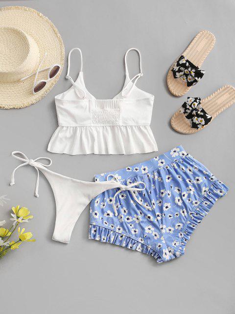 lady ZAFUL Flower Ribbed Cinched Ruffle High Leg Three Piece Swimwear - WHITE L Mobile