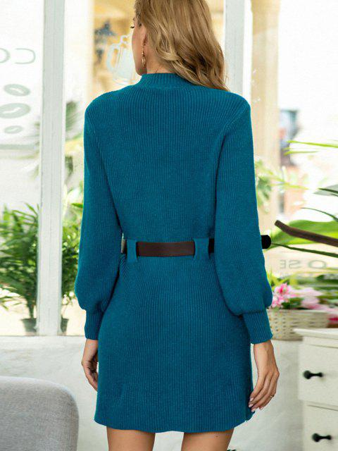outfits Buckle Belted Dual Pocket Sweater Dress - DEEP BLUE ONE SIZE Mobile