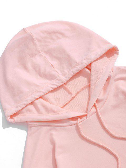 Sweat à Capuche Cœur Graphique Imprimé avec Poche Kangourou - Rose clair 2XL Mobile
