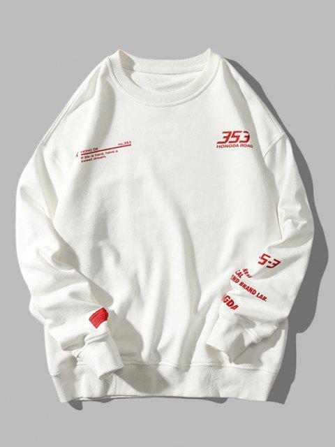 Buchstabe Grafik Muster Hängender Schulter Sweatshirt - Weiß 2XL Mobile