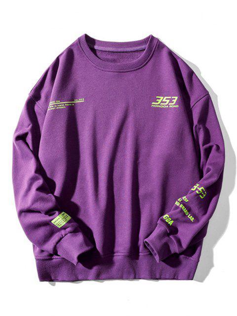 buy Letter Graphic Pattern Drop Shoulder Sweatshirt - PURPLE 2XL Mobile