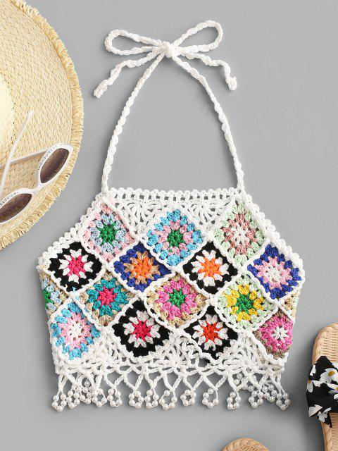 ladies Faux Pearls Crochet Tie Back Crop Top - WHITE L Mobile
