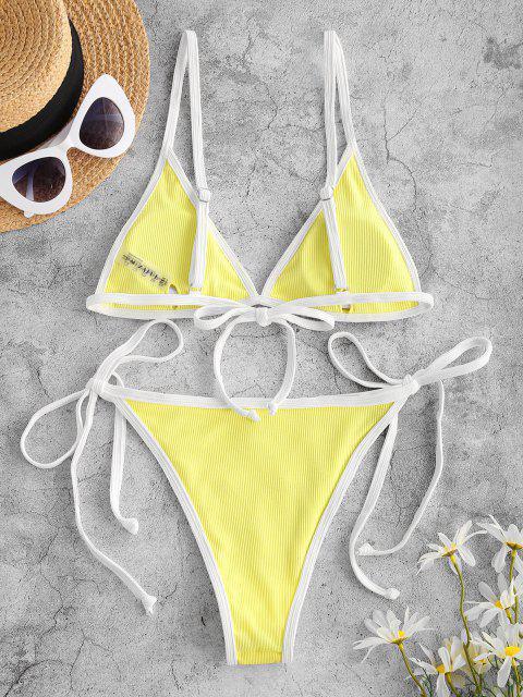 trendy ZAFUL Ribbed Flower Applique String Ringer Bikini Swimwear - YELLOW M Mobile
