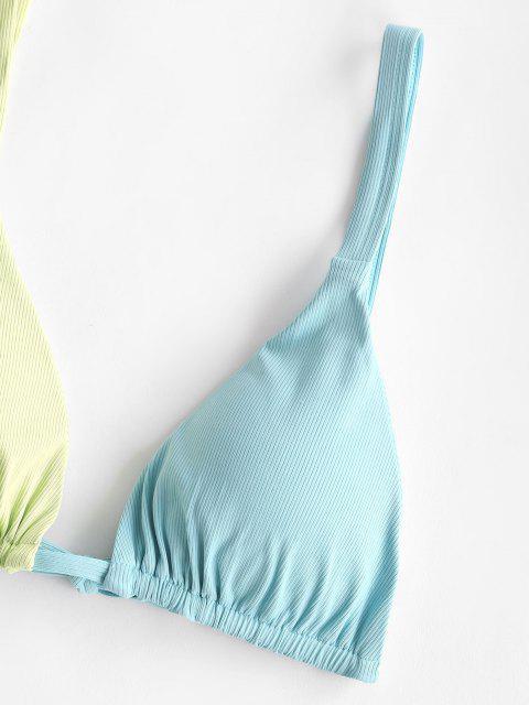 fashion ZAFUL Ribbed Bicolor Tanga Bikini Swimwear - LIGHT BLUE M Mobile