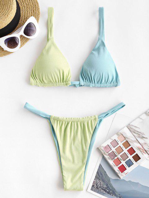 chic ZAFUL Ribbed Bicolor Tanga Bikini Swimwear - LIGHT BLUE L Mobile
