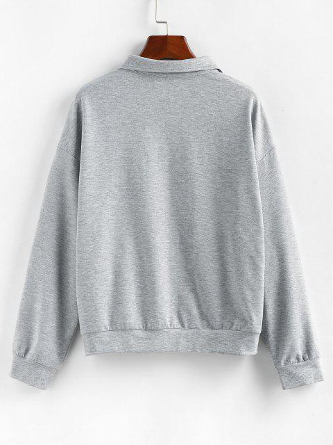 fancy ZAFUL Drop Shoulder Butterfly Embroidered Half Zip Sweatshirt - ASH GRAY M Mobile