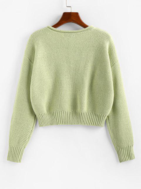lady ZAFUL Drop Shoulder Roll Trim Pullover Sweater - LIGHT GREEN L Mobile