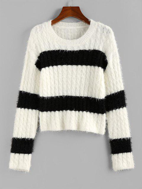 sale ZAFUL Two Tone Bicolor Cable Knit Fuzzy Sweater - WHITE L Mobile