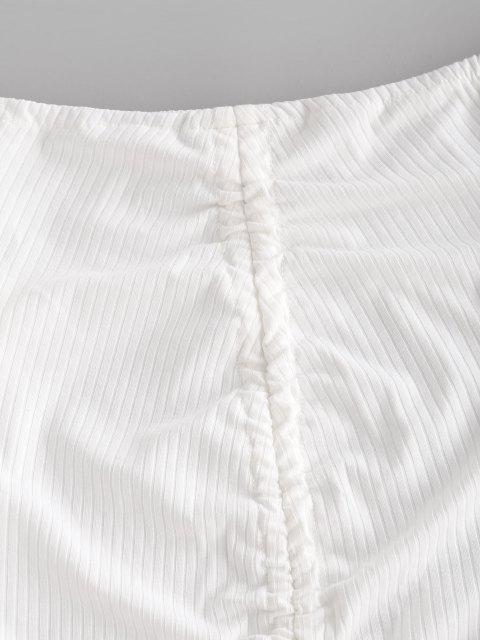 hot Ribbed Off Shoulder Cinched Front Dress - WHITE M Mobile