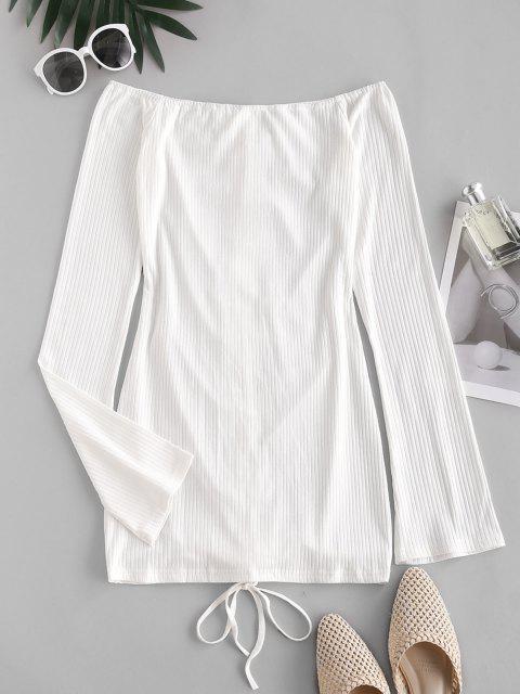 buy Ribbed Off Shoulder Cinched Front Dress - WHITE S Mobile