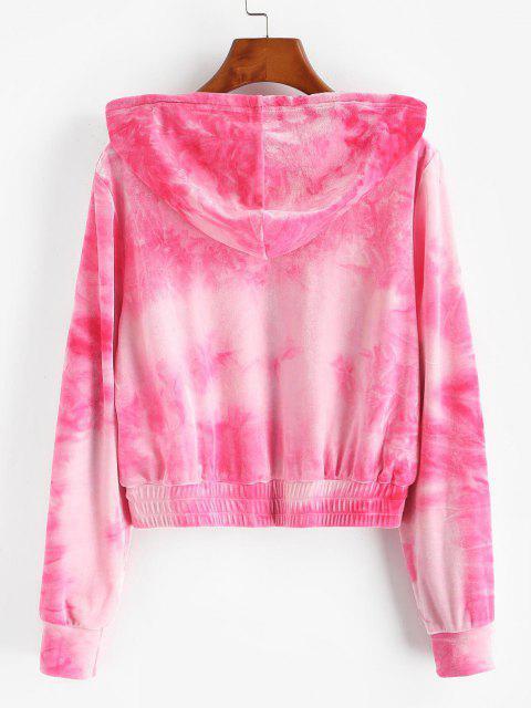 ZAFUL Chaqueta con Capucha de Terciopelo de Tie Dye - Rosa claro L Mobile