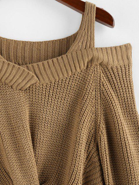 unique ZAFUL Cold Shoulder Twisted Jumper Sweater - COFFEE S Mobile