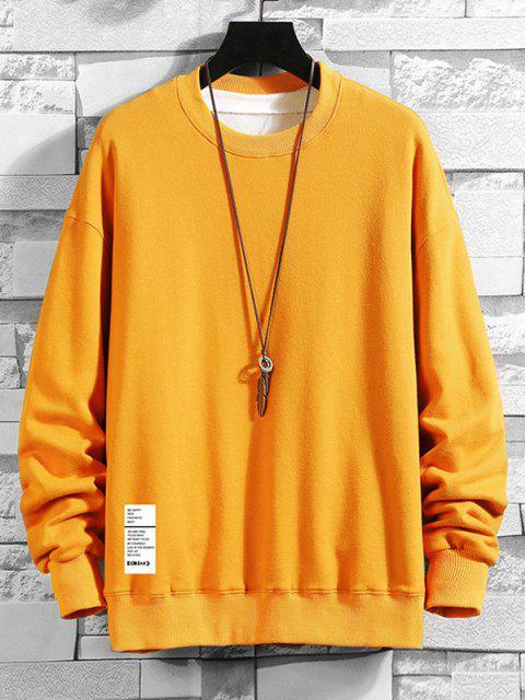 Buchstaben Druck Rundhals Kapuze Sweatshirt - Biene Gelb 2XL Mobile