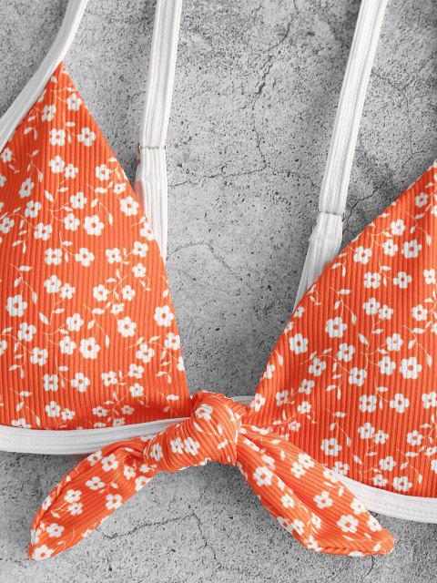 shop ZAFUL Ribbed Ditsy Print Tied Ringer Bikini Swimwear - DARK ORANGE M Mobile