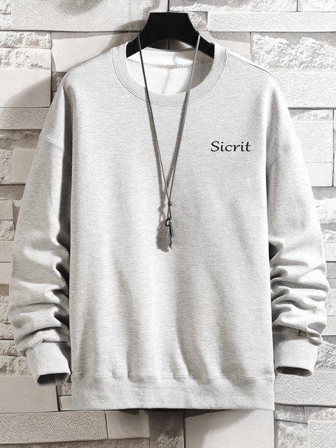 Sweat-shirt Pull-over Décontracté Lettre Graphique à Col Rond - Gris argenté 4XL Mobile