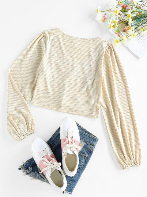 online ZAFUL Ribbed Flower Embroidered Loop Button Cardigan - LIGHT COFFEE L Mobile