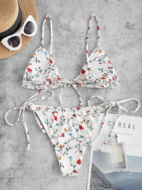 trendy ZAFUL Ribbed Floral O Ring String Bikini Swimwear - WHITE L Mobile