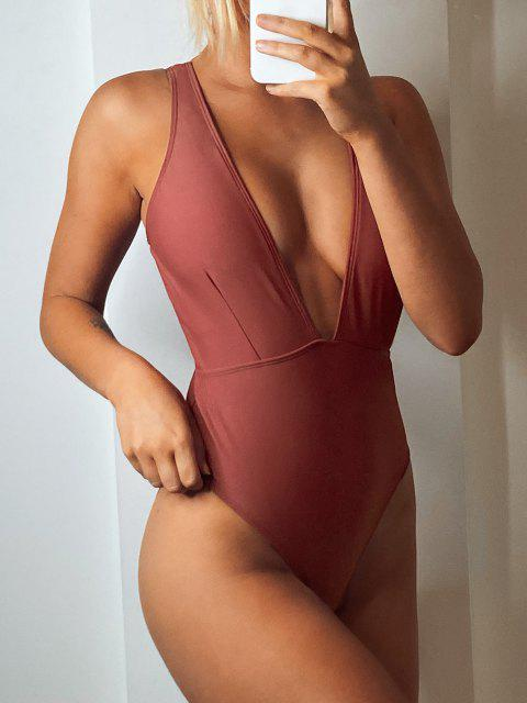 new High Cut Plunge Neck Swimsuit - CHESTNUT L Mobile