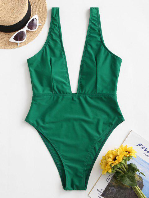 sale High Cut Plunge Neck Swimsuit - GREEN L Mobile