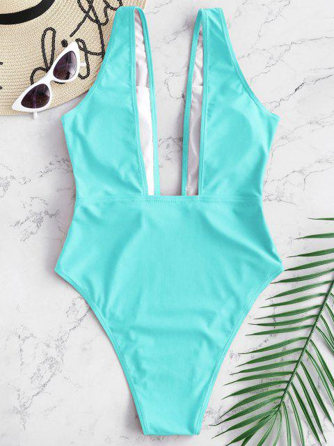 womens High Cut Plunge Neck Swimsuit - LIGHT BLUE S Mobile