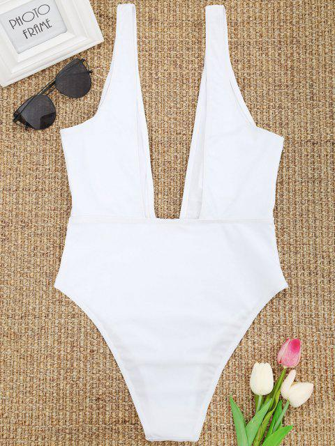 affordable High Cut Plunge Neck Swimsuit - WHITE M Mobile
