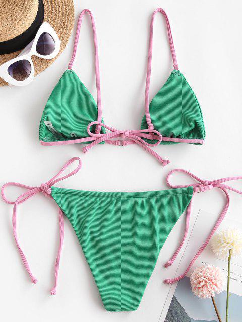 outfits ZAFUL Ribbed O Ring Contrast Strap String Bikini Swimwear - LIGHT GREEN S Mobile