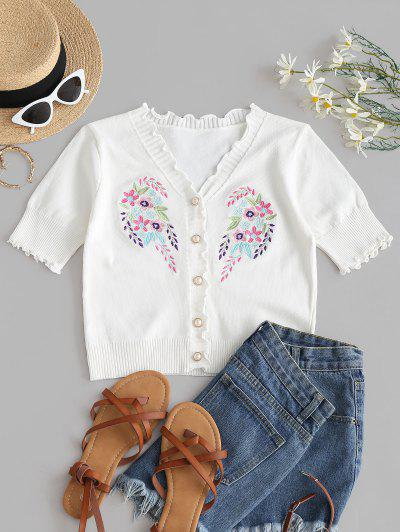 Floral Embroidery Slim Lettuce Knitwear Top - White