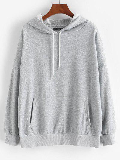 Drop Shoulder Kangaroo Pocket Loose Hoodie - Light Gray M
