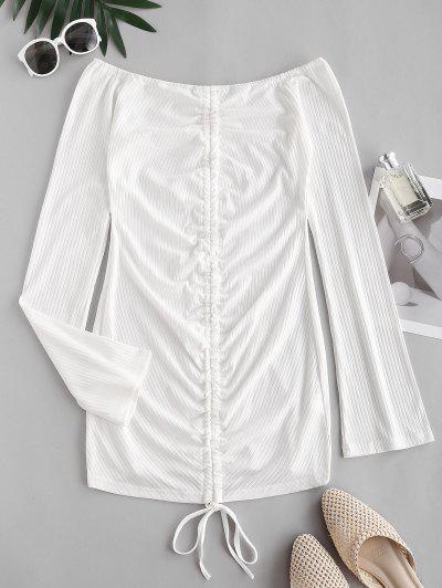 Vestido Suelta De Hombro Descubierto - Blanco L