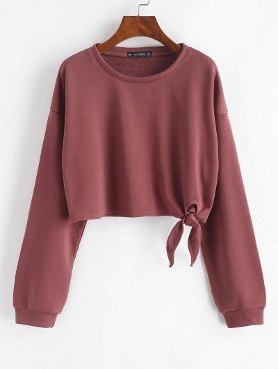 Drop Shoulder Tied Crop Sweatshirt - Red S