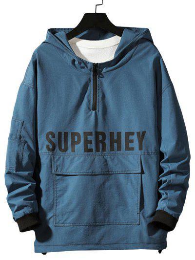 Letter Print Stitching Zipper Convertible Hoodie - Blueberry Blue 2xl