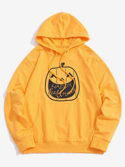 Halloween Pumpkin Graphic Front Pocket Casual Hoodie - Yellow L